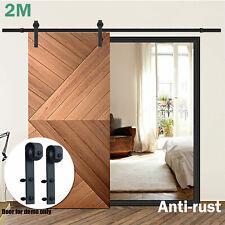 2M Sliding Barn Door Hardware Smooth Powder Coated Track Set Interior Bedroom