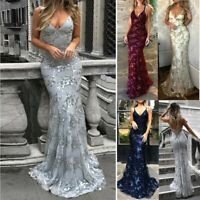 Womens Sexy Sleeveless V-Neck Sequin Ball Gown Evening Cocktail Prom Party Dress