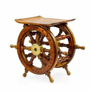 "18"" Sitting Stool & Ottoman Style Pirate's Nautical Handcrafted Wooden Stool"