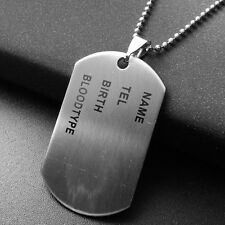 Men Army Name Chic Titanium Steel Pendant Chain Link Necklace Dog Tags Jewelry