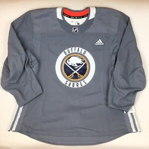 Buffalo Sabres NHL Adidas Gray Pro Practice Hockey Jersey Made in Canada Sz 56