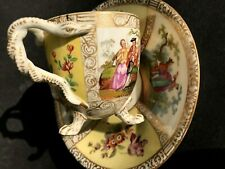 New listing Antique 1800s Dresden Snakes Handle Claw Footed Figural Hp Quatrefoil Cup Saucer