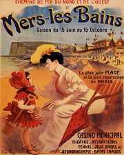 MER-LES-BAINS MOTHER DAUGHTER AT BEACH 8 X 10 VINTAGE POSTER REPRO FREE SHIPPING