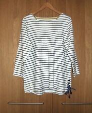 Ladies JOULES Ivory Chambray Denim Blue Stripy Cotton Nautical Tunic Top Size 18