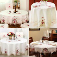 Embroidery Rose Tablecloth Satin Fabric Round Table Cloth Doily Cover Home Decor