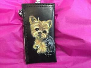 YORKIE HAND PAINTED LEATHER KEY  Pouch WITH POCKET