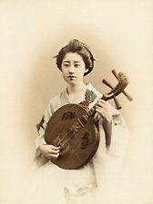Ogawa Kazumasa Singing girl Original vint. handcolored photo  Japan 1890c L354