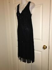 🎀 JKARA New York Dress Black Beaded Flapper Roomba Evening Party Dress 12 💕