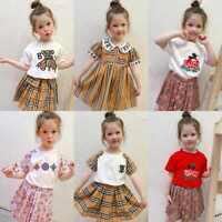 Kids Girls Fashion Plaid Bear T-shirt+Skirt Long Sleeve Dress Summer 2PCS Set