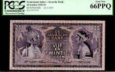 """Netherlands Indies P80 1939 """"Javanese Dancers� 25 Gulden Pcgs 66Ppq 2Nd Finest!"""