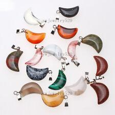Wholesale Beautiful 50Pcs Mixed  Natural  Gemstone Half-Moon  Pendant  Bead FREE