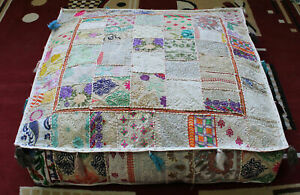 """Indian square 35"""" Vintage White cotton Patchwork Ottoman Floor Cushion cover"""