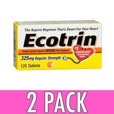 Ecotrin Safety Coated Aspirin 325 MG Regular Strength Tablets 125 Count