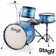 """Stagg TIM-316JR 16"""" Retro Style Kids Drum Set - BLUE + Sticks, Cymbals, Throne"""