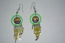 1 x pair ceramic  inca design earrings handmade fluorescent green alpaca silver