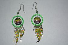 1 X Paire Céramique Inca Design Boucles d'oreilles fait main fluorescent vert Alpaca argent