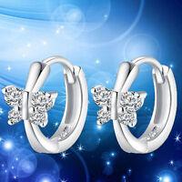 Fashion Women's Crystal 925 Sterling Silver Ear Stud Hoop Earrings Jewelry New