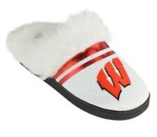 Wisconsin Badgers White Red Furry Fuzzy Insole Scuff Slippers Size 11/12 XL
