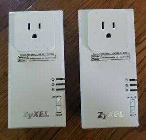 ZyXEL Powerline Pass-Thru Ethernet Adapter PLA-407 200Mbps Set of 2 - Free Ship