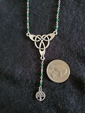2 Silver Tone Celtic Drop necklaces, Tree of Life, Cross