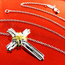 CROSS PENDANT NECKLACE CHAIN GENUINE REAL 925 STERLING SILVER S/F GOLD DESIGN