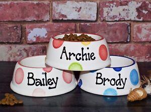 small slanted dog bowl hand painted personalised ceramic dog food bowl cat dish