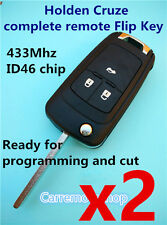 2x Holden Cruze Complete key 3 Button remote Flip Key ready for programming
