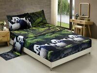 HIG 3D Sheet set -4 Pieces Panda Mom And Kids In Forest Printed Sheet Sets