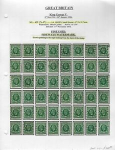GREAT BRITAIN - SG439, SG439a - 1/2d KING GEORGE V SPECIALIZED COLLECTION WM SW
