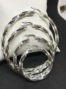 Silver 4mm Victorian Style Twisted Creole Hoop Earrings - 925 Sterling Silver