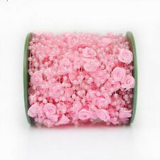 1m rosafarbene Girlande mit Perlen und Seidenblumen TAUFE Hochzeit Deko