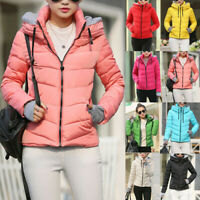 Winter Women's Down Cotton Parka Short Hooded Coat Quilted Jacket Warm Outwear