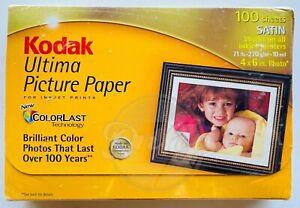 Kodak Ultima Picture Paper 4x6 ColorLast 100 Satin Sheets Inkjet Printers NIB