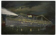 United States Line, SS Roosevelt, Lit Up At Night PPC, Unposted