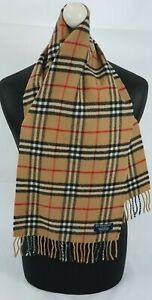 BURBERRY SCARF 100% LAMBSWOOL SHORT MADE IN ENGLAND BEIGE AS7