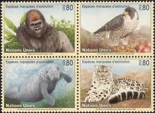 UN (G) 1993 Gorilla/Falcon/Manatee/Leopard/Animals/Nature/Wildlife 4v blk n38992