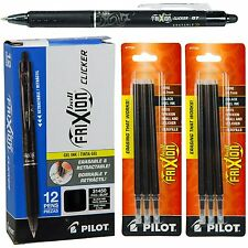 Pilot Frixion Clicker Erasable Black Gel Ink Pens,12 Pens with 2 Paks of Refill