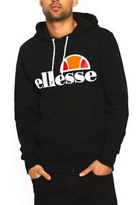 ellesse Mens Hoodie Cotton Overhead Gottero Hooded Sweatshirt Top Black