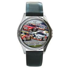 NASCAR Stock Cars Round Silver-Tone Metal Watch Black Leather Band Talladega