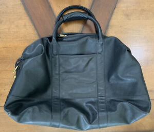 COACH 0502 Black Leather Cabin Weekender Carry-on Duffle Travel Bag Vintage