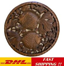 """Medallion Tropical Wood Carved Lucky Goldfishs Thai Home Decor Wall Brown 24"""""""