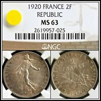 1920 Silver 2F France 2 Francs NGC MS63 Choice Unc Vintage French Classic Coin