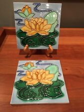 Pair of reproduction English Arts & Crafts tile William DeMorgan Morris Voysey
