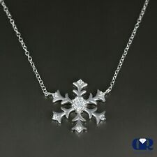 0.34 Ct Natural Round Cut Diamond Snowflake Pendant necklace 14K White Gold