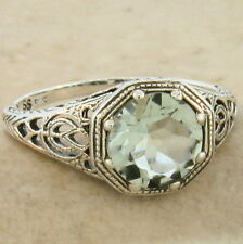 Genuine Green Amethyst Antique Filigree Style 925 Silver Ring Size 4.75, #858