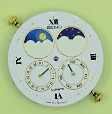 SEIKO Sun and Moon Phase Movement White Face Dial Vintage 7F18-8A00 FOR PARTS