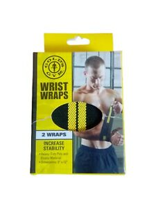 Gold's Gym Wrist Straps 2 Wraps Increase Stability Weight Lifting Black 3x12 new