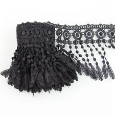 3 Yards Black Venise Fabric Polyester Lace Curtain Trim Lamp Fringe DIY Craft