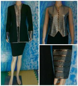St John Evening Black Jacket Vest S 2 4 2pc Set Shimmer Gold Sequins Silver Stud