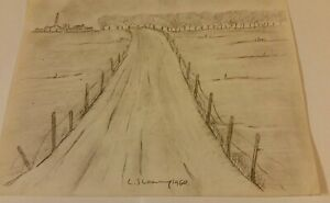 OLD UNFRAMED  DRAWING SIGNED  L S  LOWRY 1960 OLD ROAD